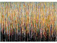 NEW ORIGINAL CONTEMPORARY VERY BIG MODERN ART DRIP STRIPES PAINTING ON BLACK CANVAS | Free Delivery