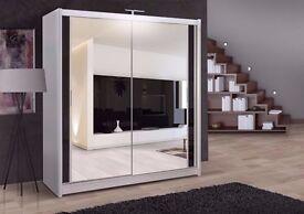 """""Superb Quality Guaranteed"""" -- Brand New Berlin Full Mirror 2 Door Sliding Wardrobe in Black&White"
