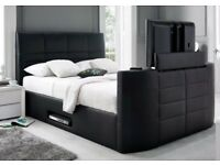NEW LEATHER double TV BED FREE MATTRESS ELECTRIC RISE AND REMOTE FREE DELIVERY
