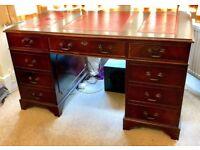 Beautiful Antique Mahogany Kneehole Desk