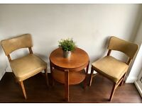 Vintage Mid Century Oak And Vinyl Chairs