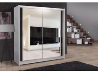 Stylish italian designed chicago wardrobe available in 120 cm 150 cm 180 cm wide + storage shelves