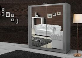 GET YOUR ORDER TODAY- BRAND NEW BERLIN FULL MIRROR 2 DOOR SLIDING WARDROBE IN 5 NEW SIZES AND COLORS