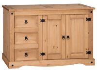 Mercers Furniture Corona 2-Door 3-Drawer Low Sideboard - Pine