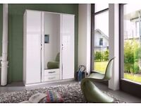BRAND NEW - TRIO 3 DOOR GERMAN HIGH GLOSS WARDROBE - 2 DRAWER,MIRROR,HANGING,SHELVES