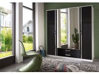 BRAND NEW- 4 DOOR HIGH GLOSS WARDROBE AVAILABLE BLACK AND WHITE WALNUT COLOUR