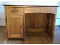 Vintage Oak Panelled Pedestal Writing Desk