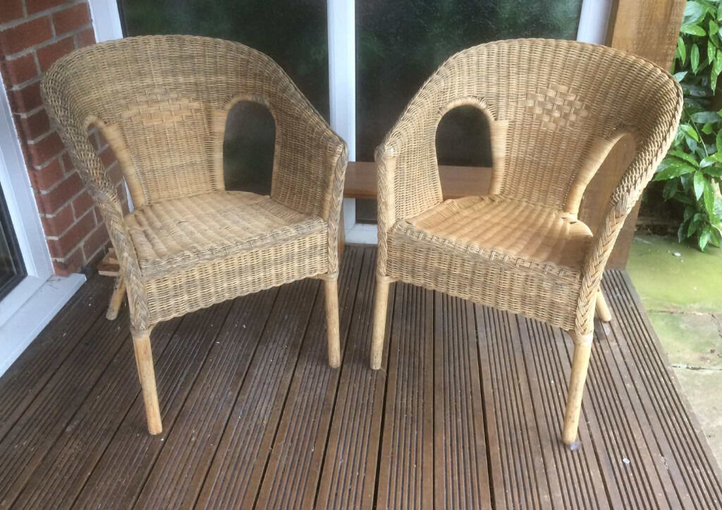 Bamboo comfortable garden, patio or conservatory chairs (pair)