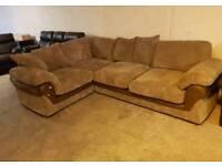Ex display Brown jumbo cord corner sofa