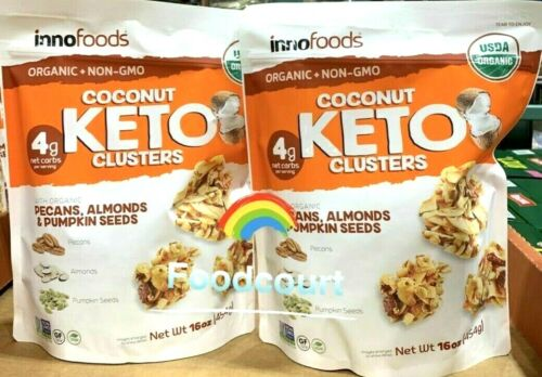 2 Packs Innofoods Organic Coconut Keto Clusters 16 oz Each Pack