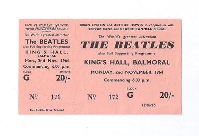 Beatles Original Very Rare Nov 2, 1964 Kings Hall Balmoral Unused Ticket
