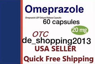 60 Caps Omeprazol Non-Presc OTC Omeprazole 20mg Heartburn GERD Acid Reflux