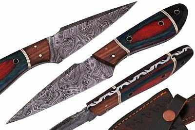 Damascus Steel Fixed Blade Hunting Knife With Multi Color Wood Handle & Sheath