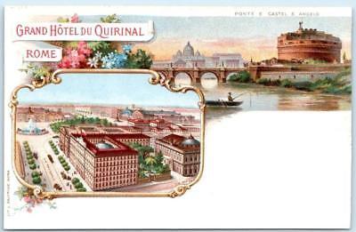 Italy Rome Hotel (ROME, ITALY  Chromo Litho  GRAND HOTEL DU QUIRINAL  ca 1900s  UDB  Postcard )