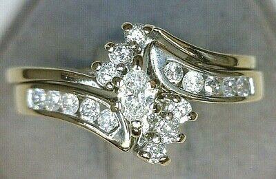 - Ladies 1/2ctw Diamond Wedding Set Marquise Center Round 14K White Gold Size 7