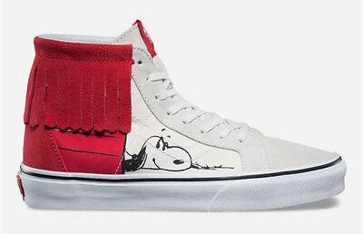 VANS Charlie Brown PEANUTS Snoopy Dog House Sk8 Hi-Moc Red Suede Shoes - Mens 10