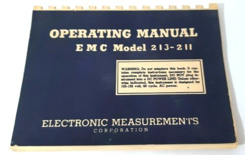 """Manual and Test Data for EMC Model 213-211 Tube Testers 1967 5.5x8"""" format"""