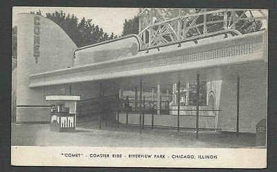Ca 1926 PPC* CHICAGO IL COMET ROLLER COASTER RIDE RIVERSIDE PARK (Riverside Park Chicago)