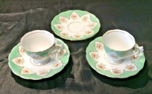 UCAGCO OCCUPIED JAPAN  LOT OF 2 DEMITASSE ESPRESSO CUPS 3 SAUCERS  MINT GREEN
