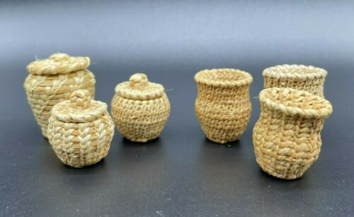 6 Miniature Vintage Woven Wicker Baskets F. Thorman basket weaver  high quality