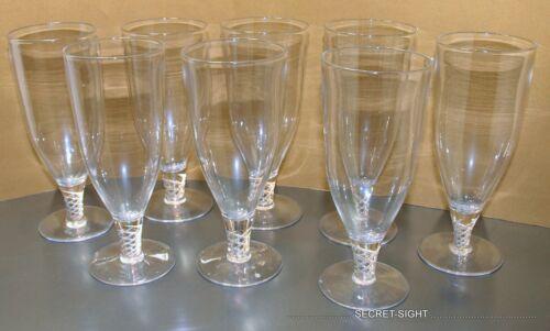 8 Vintage TUDOR WINE Crystal Air Twist Stemware Art Deco 1930s ~ MiNT