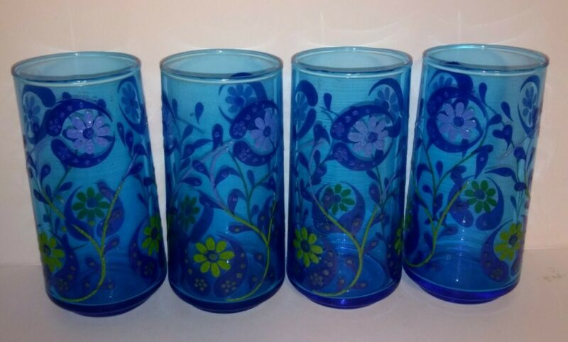 Set of 4 Vintage? Purple & Yellow Flowers Clear Drinking Glasses Blue Very 70