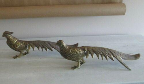 Vintage Brass Pheasant Bird Figurine Sculptures THANKSGIVING AUTUMN DECOR