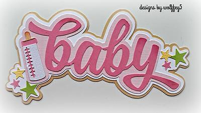 CRAFTECAFE BABY GIRL TITLE paper piecing premade scrapbook page diecut WOLFFEY5