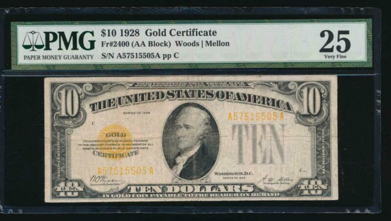 AC Fr 2400 1928 $10 Gold Certificate PMG 25