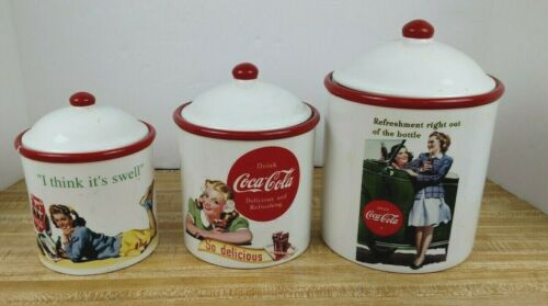 Coca-Cola Ceramic Kitchen Canister Set Vintage 1940s 1950s Retro Graphics