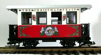 "LGB THE CHRISTMAS TRAIN RED & WHITE PASSENGER CAR ""THE RED SET"" NEW"