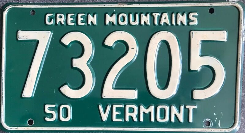 1950 Vermont License Plate Classic Green Mountains