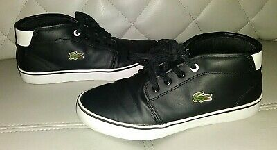 LACOSTE BLACK MID TOP SHOES SIZE 2.5 YOUTH KIDS BOYS GREAT CONDITION L@@K