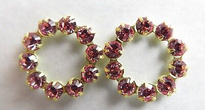 Plated Swarovski Rhinestone - R043 - 20 Swarovski 16mm Rhinestone Rings Gold Plated - Light Rose Components