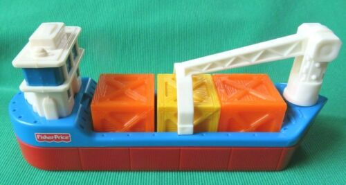 Fisher Price GEOTRAX OCEAN CARGO TRANSPORT BARGE BOAT CRATES CRANE
