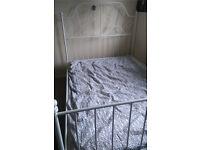 White Double IKEA bedframe and mattress