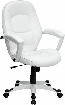 Lot Of 10 White Leather Executive Computer Office Desk Chairs