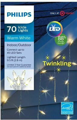 New ! Philips 70ct Christmas LED Icicle String Lights Warm White Twinkle