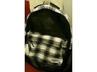 Mens Black and white plaid backpack