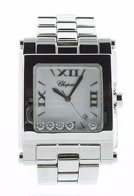 Chopard Happy Sport XL White Dial 5 Floating Diamonds SQ SS Watch 28.8467-3001 * ()