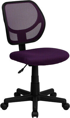 Low Back Purple Mesh Swivel Office Chair With Curved Square Back - Desk Chair