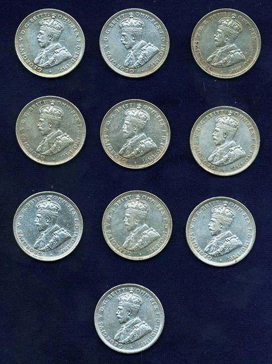 AUSTRALIA GEORGE V 1925  1 SHILLING SILVER COINS (10), VF+ to VF/XF