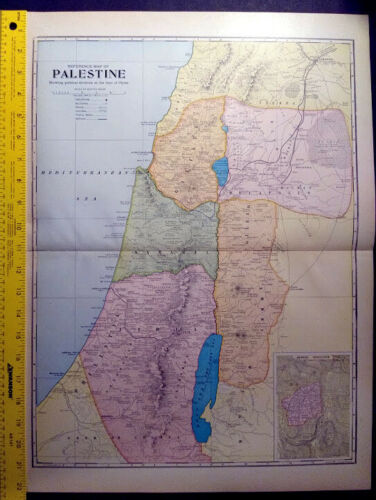 1904 Palestine Holy Land Monarch Standard Atlas Map 16 inch x 22  inch Color M64