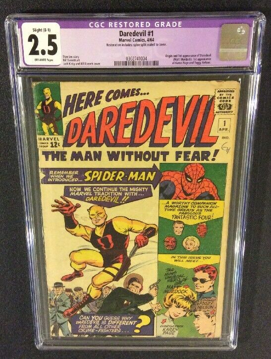 DAREDEVIL #1 Comic CGC 2.5 ORIGIN 1ST APPEARANCE MATT MURDOCK Marvel 1964 Foggy