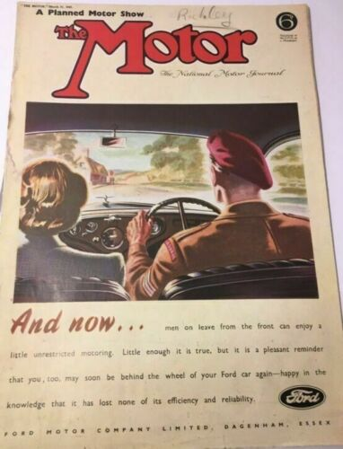 WW2 British The Motor Magazine March 21 1945 Patriotic Ads Racing Luxury Cars