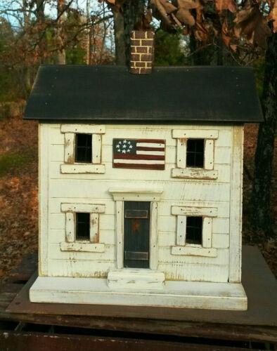 Functional Birdhouse , Americana Birdhouse , Primitive Birdhouse , Lighted House