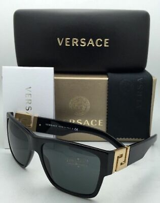 New VERSACE Sunglasses VE 4296 GB1/87 59-16 145 Black & Gold Frame w/Grey Lenses