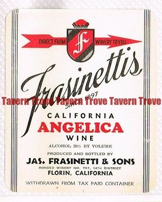 For sale Unused 1940s CALIFORNIA Florin Jas FRASINETTI ANGELICA WINE label