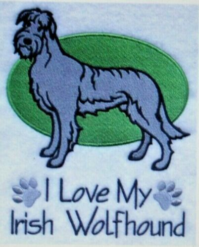 Love My Irish Wolfhound Dog Embroidered Personalized Tee Shirt ALL SIZES