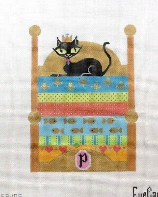 EyeCandy Princess Kitty Cat in Colorful Bed Handpainted Needlepoint Canvas